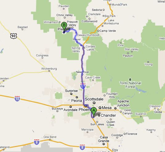 The route from Chandler to Prescott