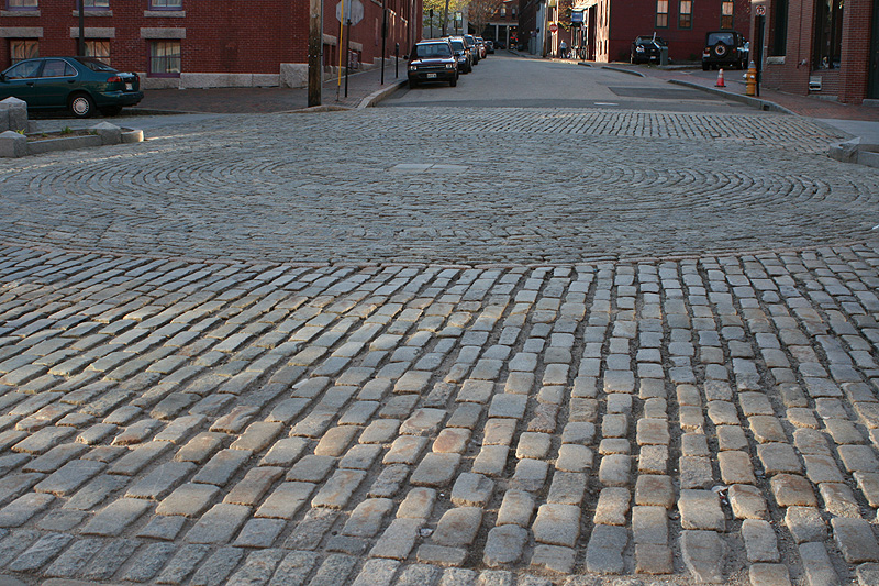 The cobblestone streets of the Old Port, Portland Maine.